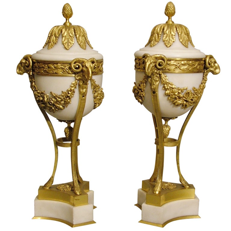 Pair of 19th Century French White Marble and Gilt Bronze Urns