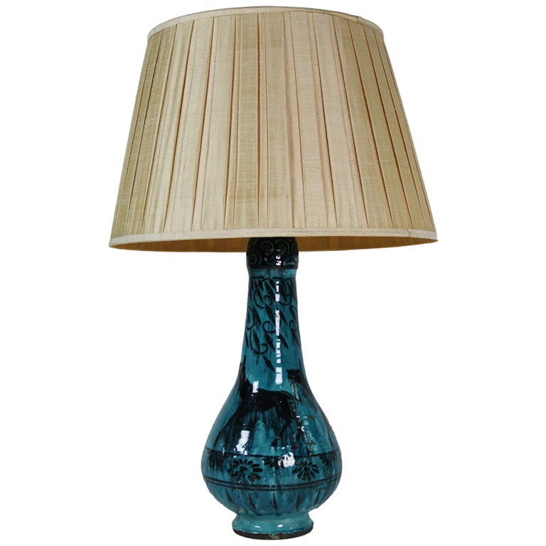 Art deco turquoise ceramic table lamp at 1stdibs for Ceramic table lamps