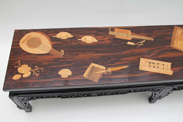 Palissandre Marquetry Coffee Table image 4 -> Table Tele Palissandre