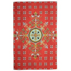 Spectacular English Pompeian Red Needlepoint Wool Rug