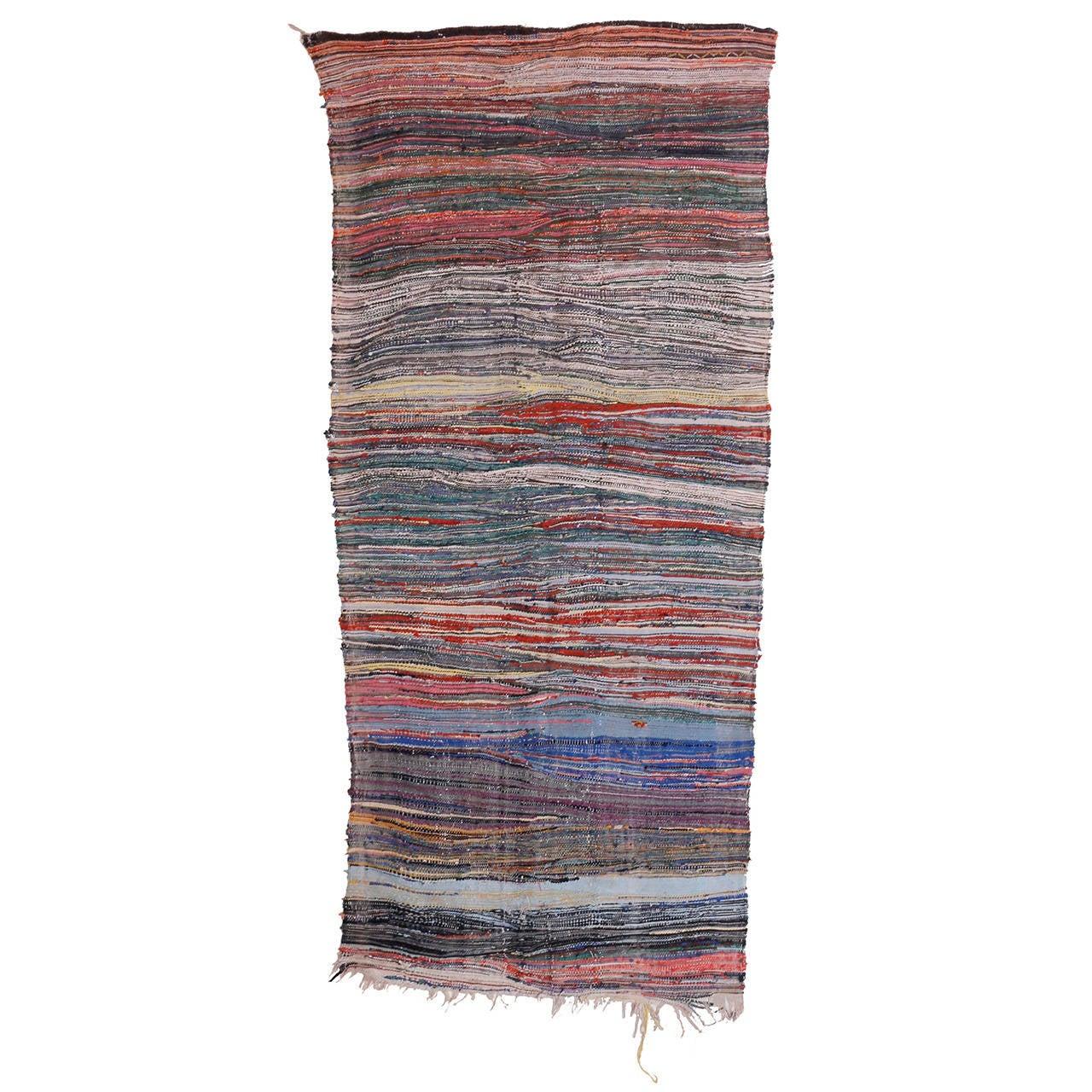 Dramatic Boucherouite Moroccan Berber Flat-Weave Rug