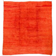 Vintage Large Size Open Field Orange Moroccan Berber Rug