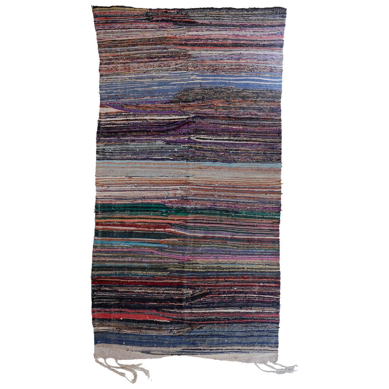 Vintage Moroccan Berber Boucherouite Flat-Weave Rug