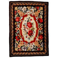 Rare Antique Ukrainian Pile Rug With Floral Garlands
