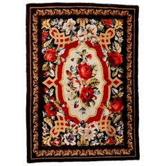 Rare Antique Ukrainian Pile Rug With Floral Garlands in the St. Petersburg Style