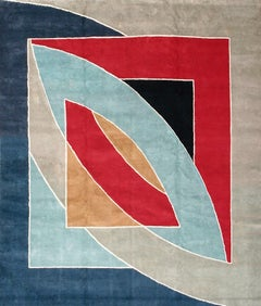 'River of Ponds' Wool Tapestry Rug by Frank Stella, 1970