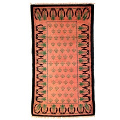 Arts & Crafts Coral Wool Rug, 1910s