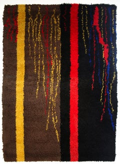 Mid-Century Modern Abstract Design French Wool Rug