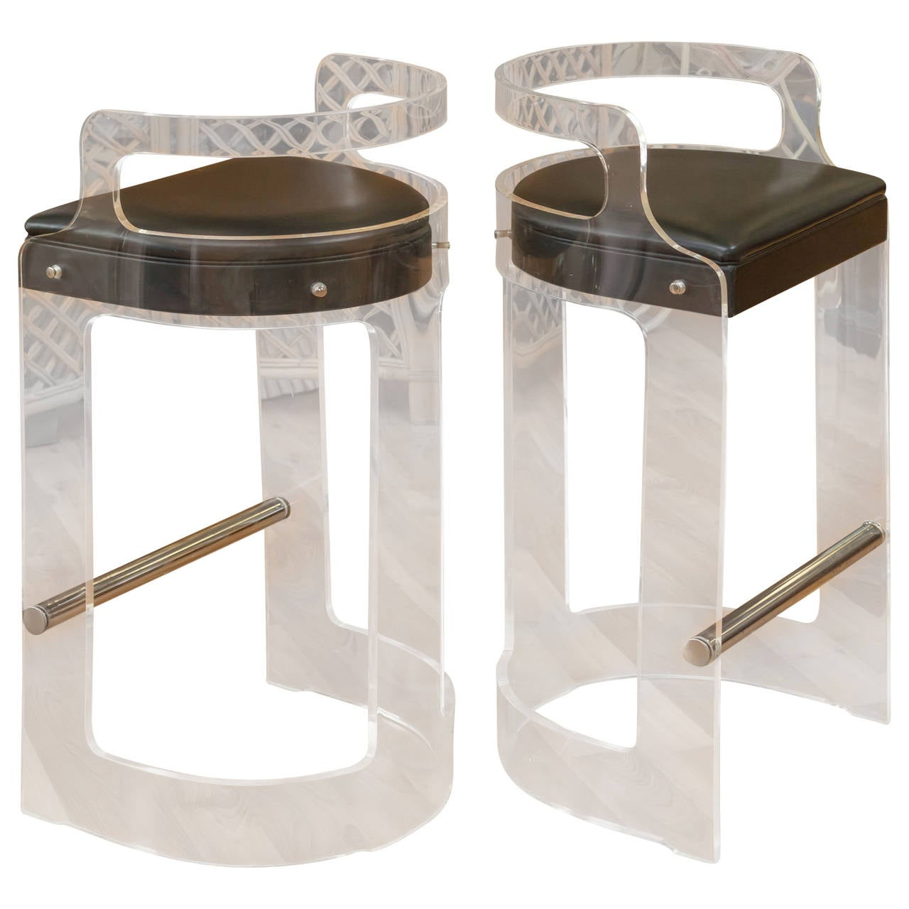 1970s Pair of Lucite Bar Stools, Hill Manufacturing, NY at 1stdibs