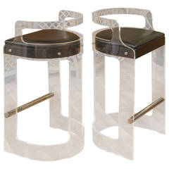1970s Pair of Lucite Bar Stools, Hill Manufacturing, NY