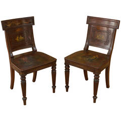 Pair of Neoclassical Chairs, Painted, Signed F. Lefevre