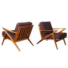 Pair of Iconic Z Chairs in Teak Designed by Poul Jensen for Selig