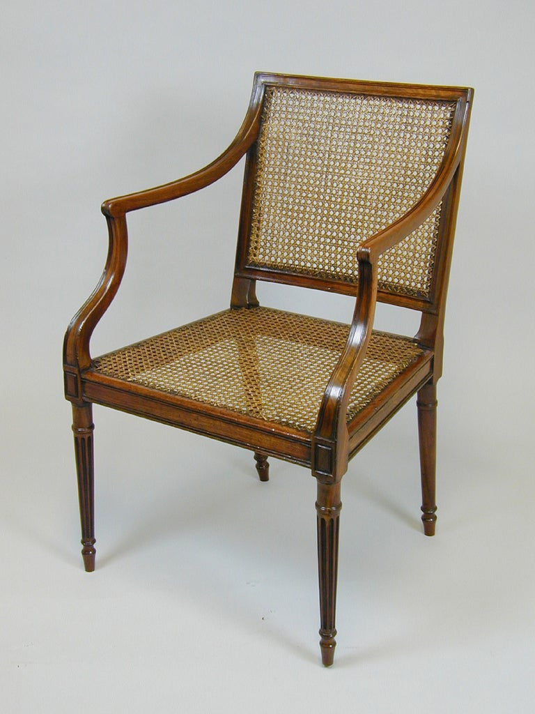 Pair George Iii Mahogany Bergere Chairs With Cane Seats At