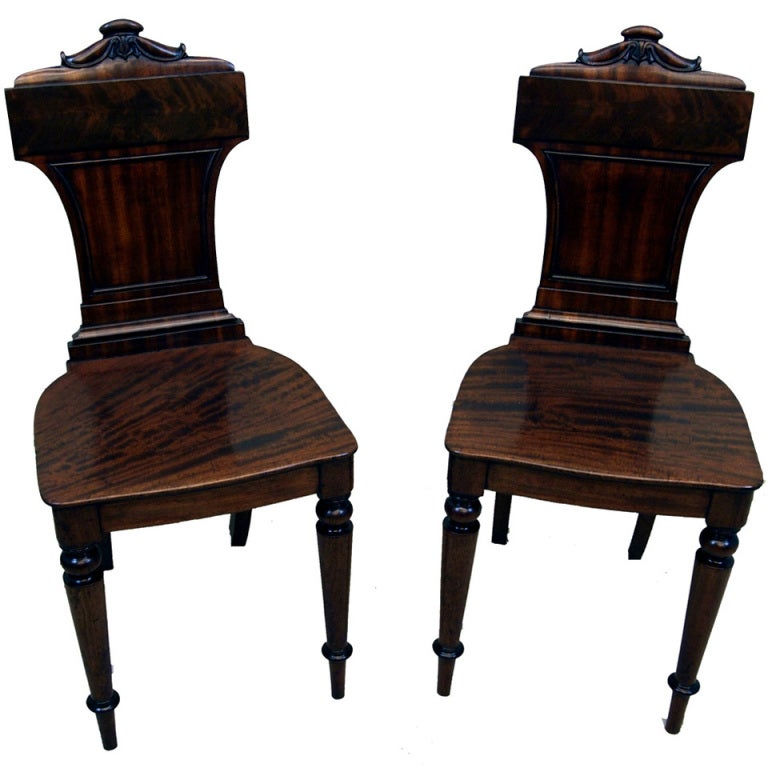 Antique Regency Mahogany Hall Chairs