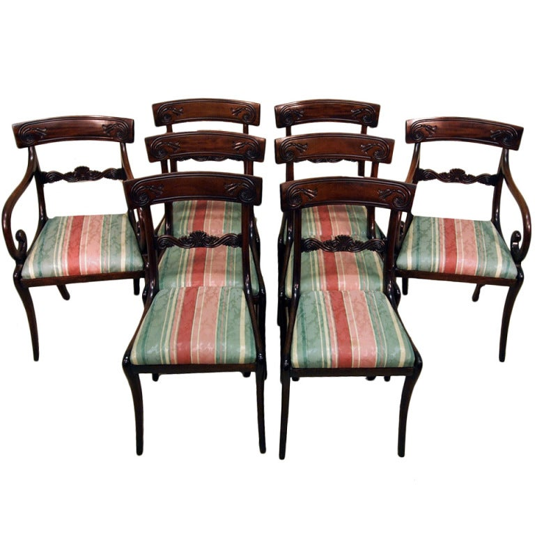 Antique Regency Mahogany Set of Dining Chairs For Sale at