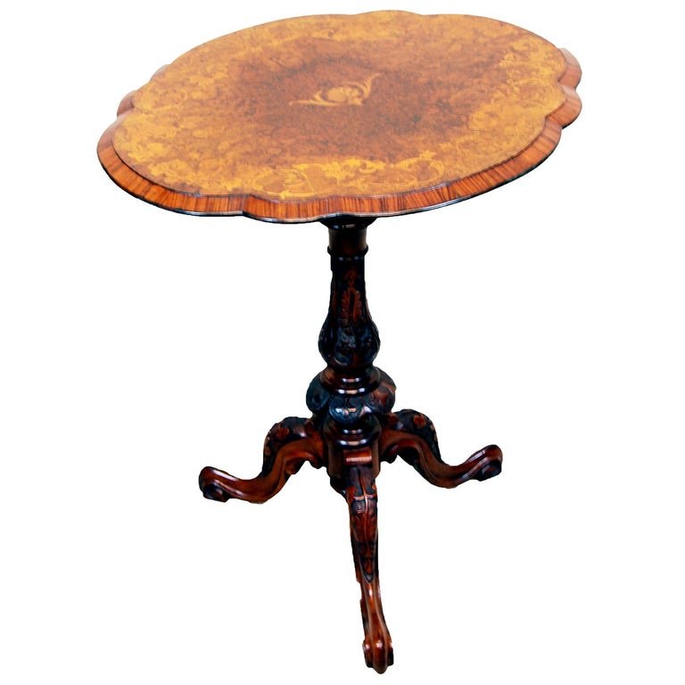 Antique Victorian Burr Walnut Occasional Lamp Table