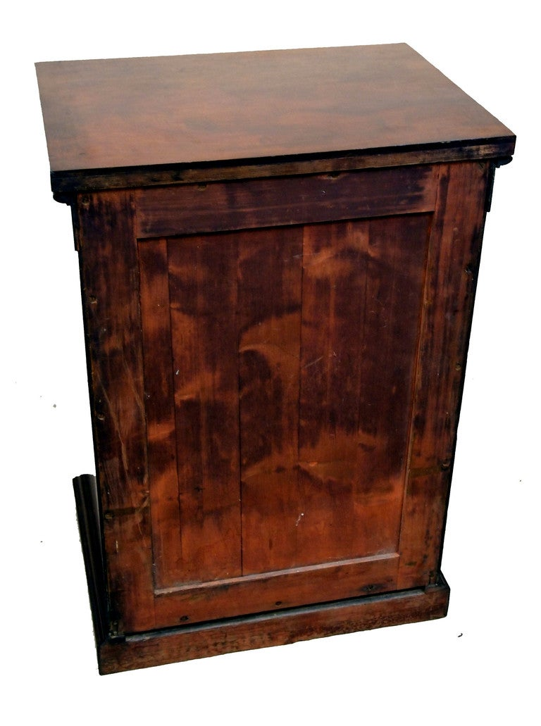 An early 19th century mahogany pedestal cupboard having carved patrae and reeded stiles flanking well figured panelled door standing on original plinth base.