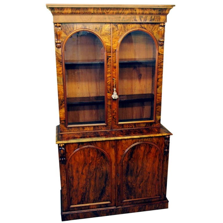 Antique Victorian Burr Walnut Library Bookcase