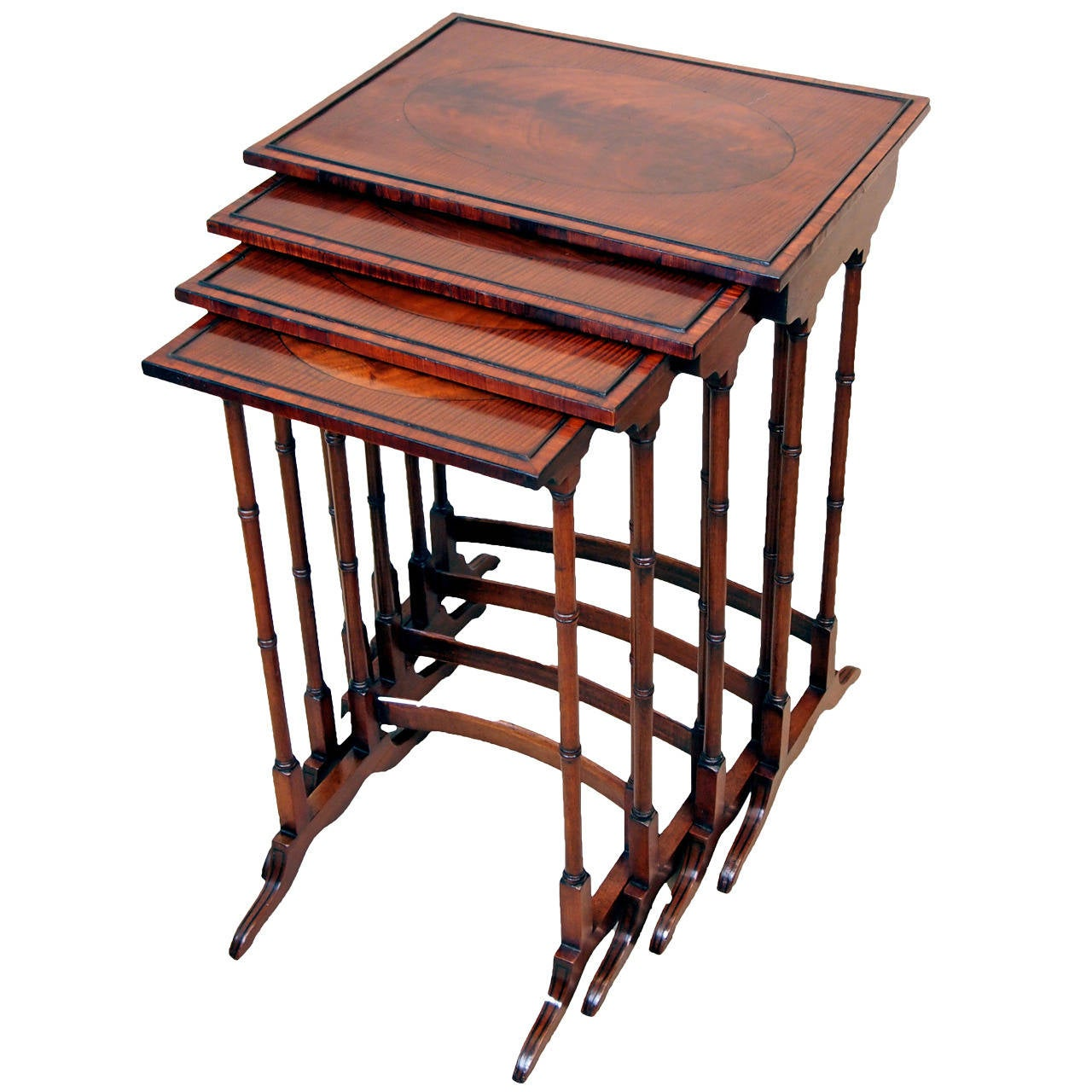 Antique mahogany quartetto nest of tables at stdibs