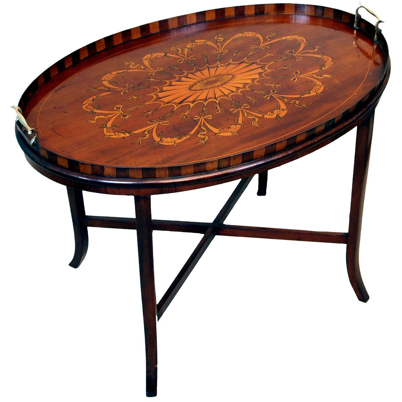 Oval Coffee Table Tray: Antique Mahogany Oval Tray On Stand At 1stdibs