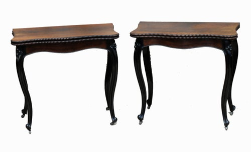 Antique Rosewood Pair of Card Tables