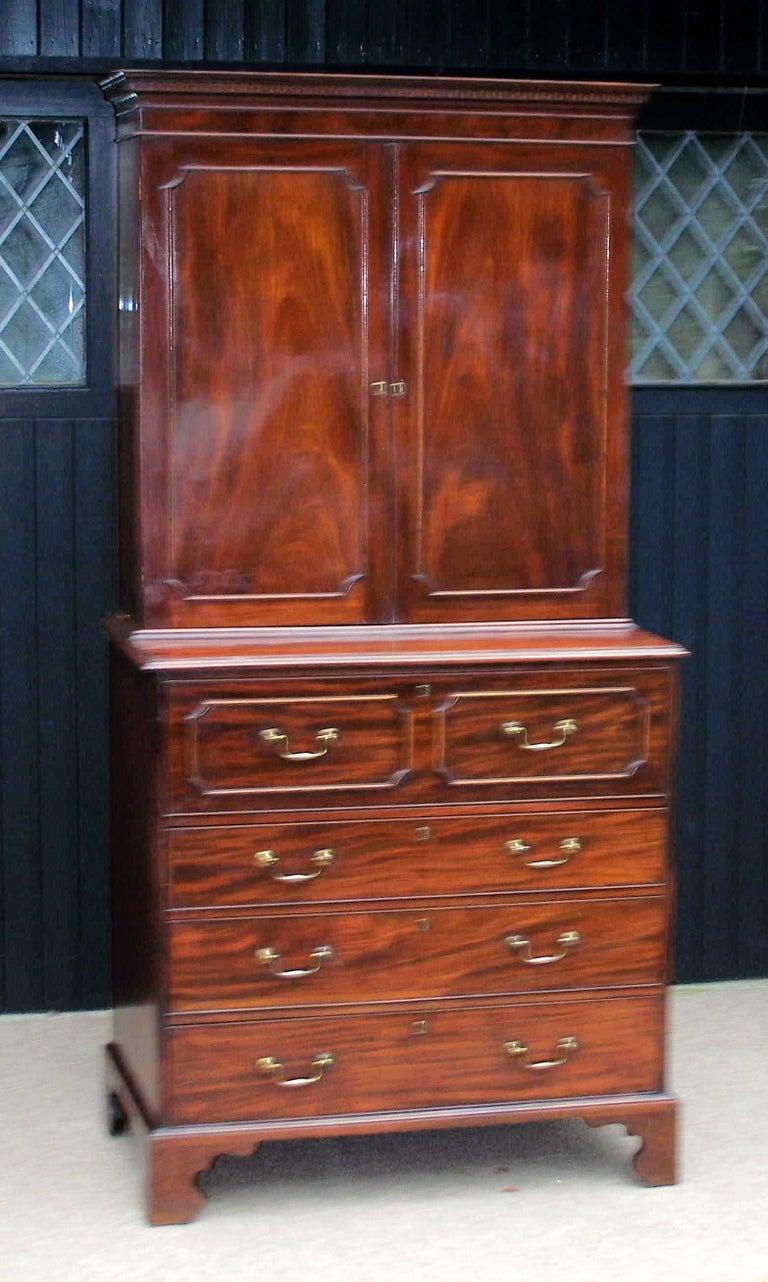 Antique Mahogany Secretaire Bookcase