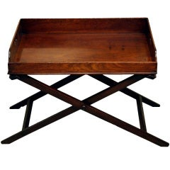 Antique Mahogany Butlers Tray On Stand