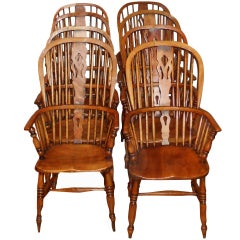 Antique Set of Eight Ash and Elm Windsor Chairs