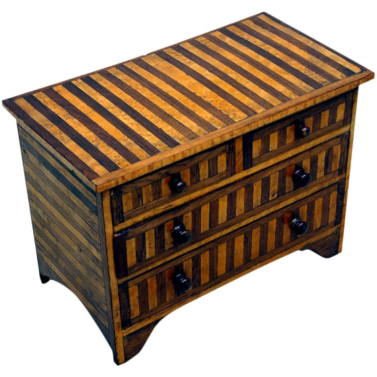 Antique Victorian Rosewood And Birdseye Maple Miniature Chest At 1stdibs