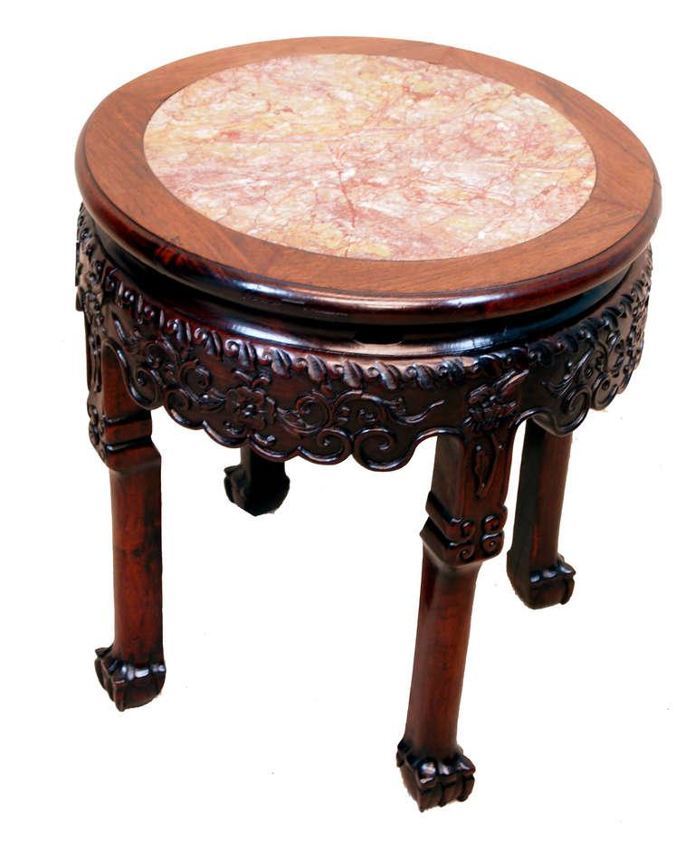 Antique Circular Oriental Hardwood Coffee Table For Sale