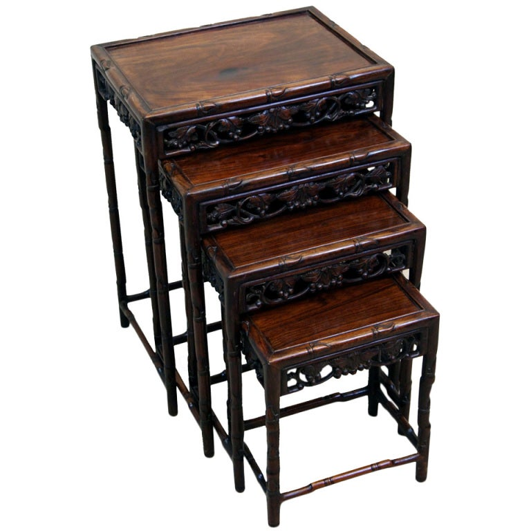 Antique Oriental Hardwood Nest Of Coffee Tables For