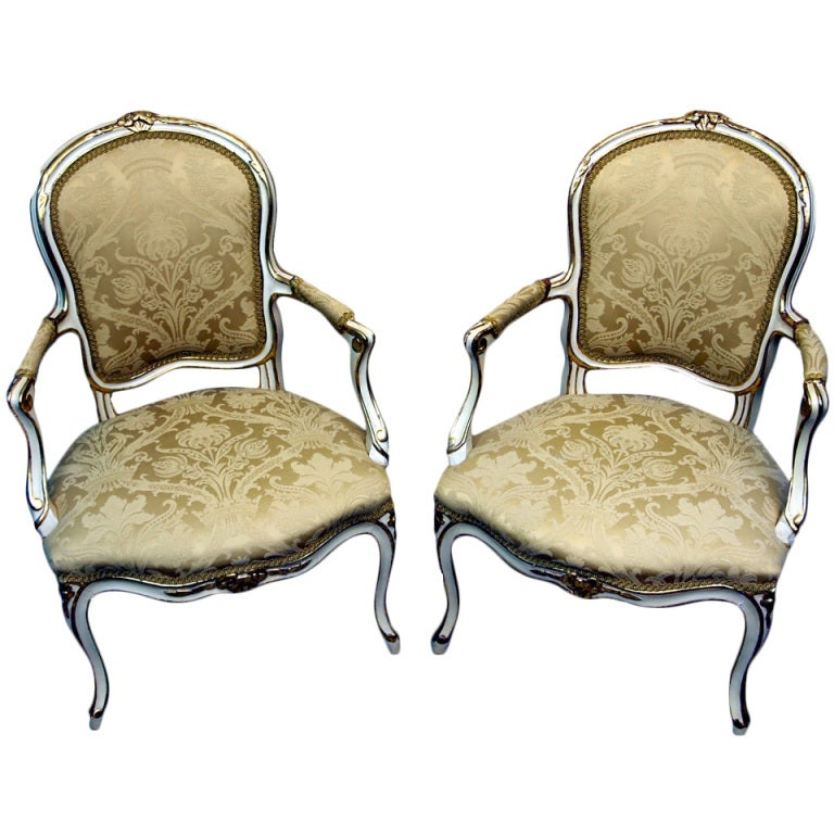 Antique 18th Century French Painted Pair Of Salon Chairs 1 - Antique 18th Century French Painted Pair Of Salon Chairs At 1stdibs
