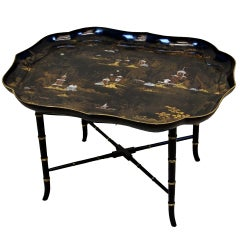 Antique Papier Mache Tray On Stand