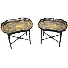 Antique Pair Of Papier Mache Trays