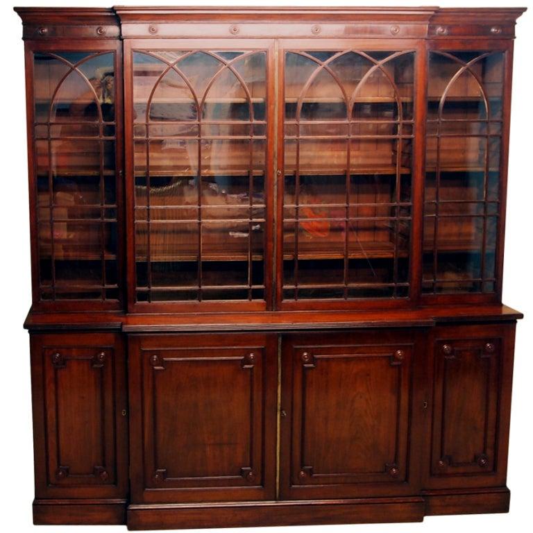 Antique Georgian Mahogany Breakfront Bookcase  1