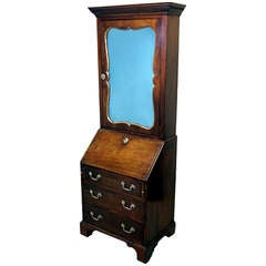 Antique Mahogany Bureau Bookcase Cabinet