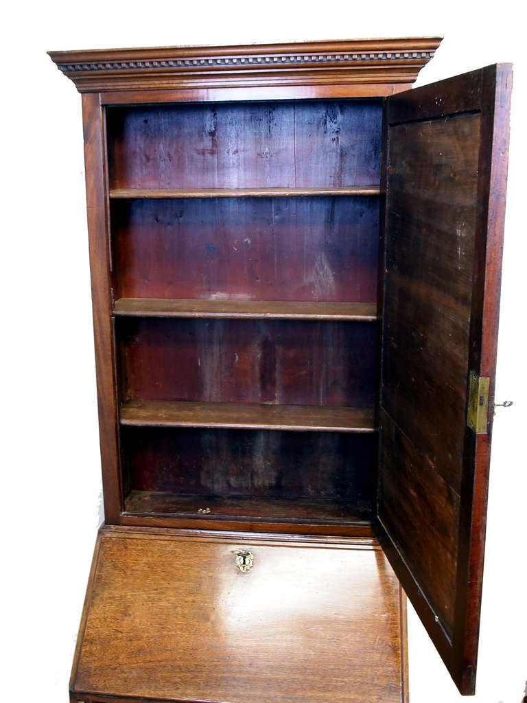 18th Century and Earlier Georgian English Small Mahogany Bureau Bookcase For Sale