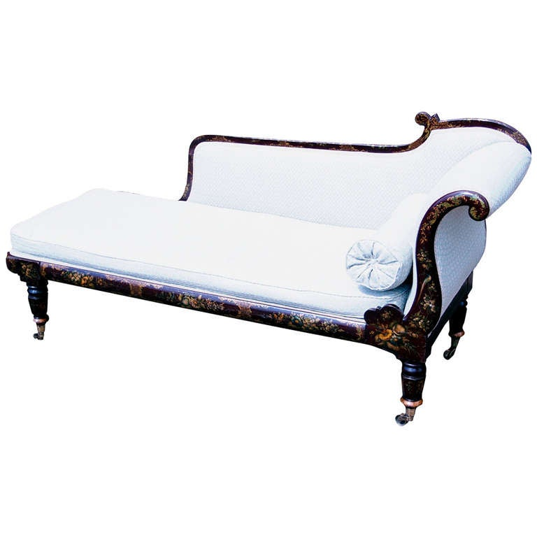 Antique 19th century chinoiserie chaise longue at 1stdibs for Antique chaise longues