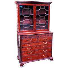 Antique Georgian Mahogany Secretaire Library Bookcase