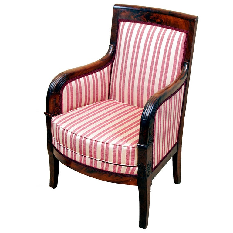 19th Century Mahogany French Empire Library Armchair