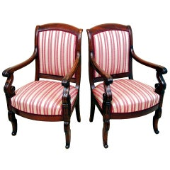Antique Pair of Mahogany French Empire Library Armchairs