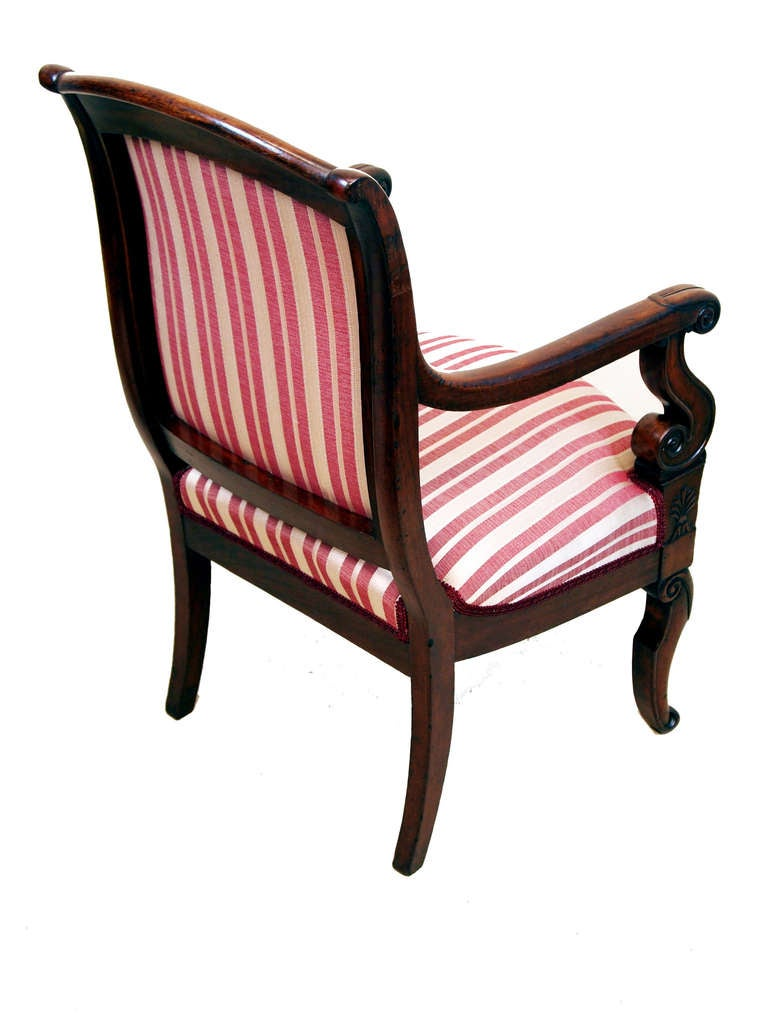 English Antique Pair of Mahogany French Empire Library Armchairs For Sale