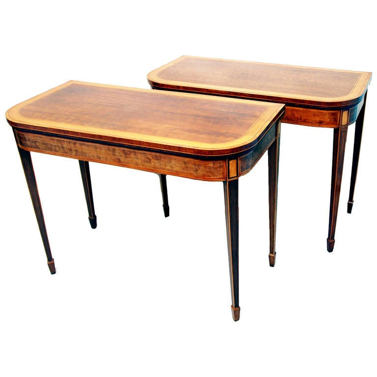 Antique Georgian Mahogany Pair of Card Tables