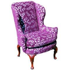 Queen Anne 18th Century Antique Walnut Wing Armchair