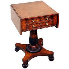 Antique Regency Burr Oak Baby Pembroke Table