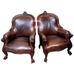 Antique Pair of 19th Century Mahogany Library Chairs