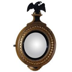 Antique Regency Period Gilt and Ebonized Convex Mirror
