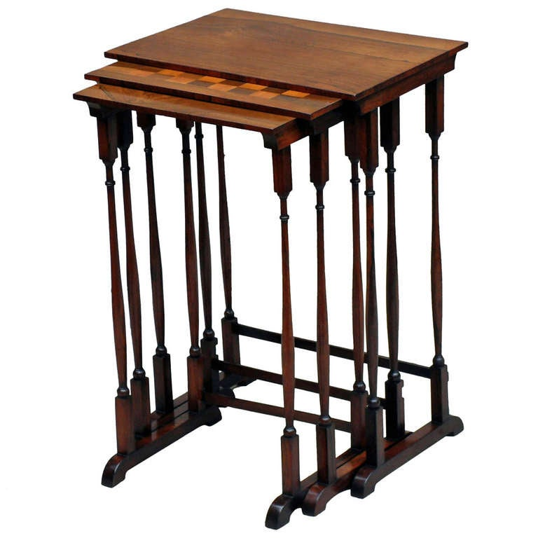 Antique Regency Rosewood Nest Coffee Tables