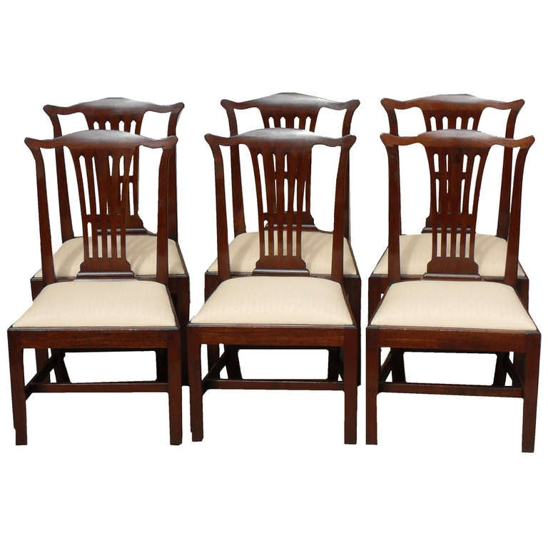 antique set of six chippendale period dining chairs for