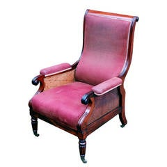 Antique Regency Mahogany Library Bergere Chair